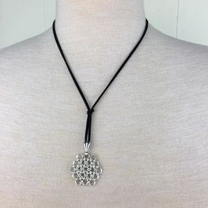 Sterling Silver Chain Maille Flower Necklace